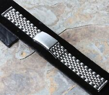 Vintage steel dive watch bracelet Beads of Rice 18mm straight ends 1960s 2 sold
