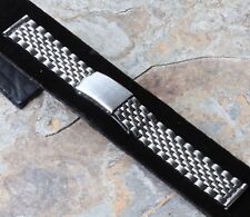 Vintage steel divers watch bracelet Beads of Rice 18mm straight ends 1960s/70s