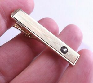 Vintage ANSON KARATCLAD Tie Clip Tie Pin Gold Plate with Clear Crystal FREE P&P