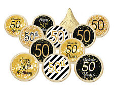 50th Birthday Party Favor Decorations Black Gold Kisses Candy Sticker Set of 324