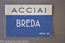 Pubblicità Catalogo Industriale Acciaio Inox Acciaierie Breda Milano Torino 1934