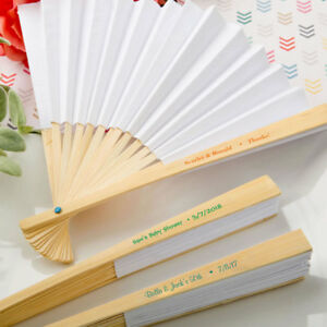 50 Personalized White Paper Folding Fans Outdoor Wedding Favors