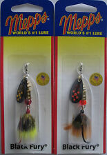 2 - Mepps  Black Fury Spinner - 1/8 oz.- Two Popular Colors with Dressed Tails!