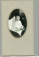Antique Photo in Folder - Very Cute Baby Sitting - Wearing Gown & Locket