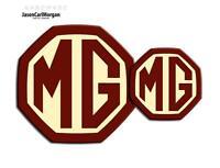MG ZR MK2 Front Rear Badge Inserts 59mm 95mm Burgundy Cream Badges