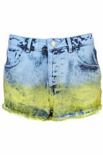 TOPSHOP MOTO dip dye Denim hotpants UK 12 in Multi - New with tags