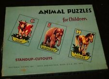 vintage 1950s 1960s Animal Puzzles for Children by National Games West Springfie