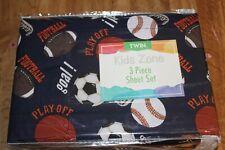 Kids Zone 3 Piece Sheet Set Pink Sports Basketball Soccer Baseball