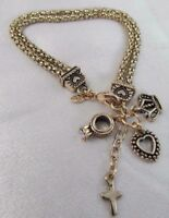 NWT PREMIER DESIGNS GOLD HOSTESS CHARM BRACELET, Cross, Ring, Heart, Crown