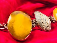925 sterling silver Baltic amber and shell bracelet, 7.5 inch