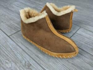 LL BEAN womens SHEARLING lined MOACCASIN slippers 5 M brown
