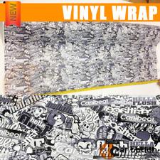 30 X 59 Inch JDM Cartoon Sticker Bomb Vinyl Wrap Sheet Decal Black & White Style