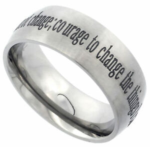 Titanium Ring Men Women Wedding Band Serenity Prayer Domed Brushed Finish 8mm