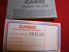 VINTAGE CASIO MODULE NO. 567 USER'S GUIDE/WARRANTY CERTIFICATE