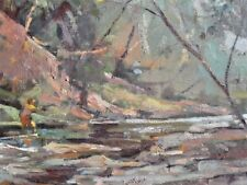 MAN FISHING IN FOREST RIVER OIL PAINTING ORIGINAL LANDSCAPE