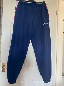 Adidas navy Tracksuit bottoms Joggers Medium Red White Stripe Zip Ankle