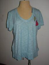 Lane Bryant Aqua T-Shirt w/Heart and Lightning Bolt Appliques 18/20 Fits 18W 20W