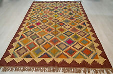 Large Kilim Rug Brown Ethnic Geometric Wool Jute Indian 180x270cm 6x9' Handmade