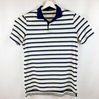 RLX Ralph Lauren Men's Medium Golf Polo White Shirt with Blue/Yellow Stripes
