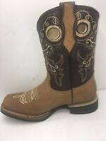 Women's Western Rodeo Square Toe Cowgirl Boots Honey 100% Leather
