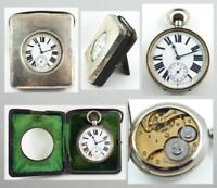 Antique Sterling Silver Travel Clock Case with 15 J Swiss Argentan Watch c. 1907