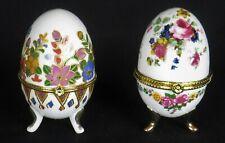 Vintage Decorative Porcelain Eggs Trinket Boxes * 2 Boxes * Floral * Excellent!