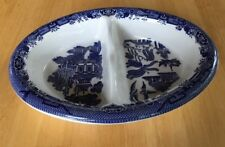 """BLUE WILLOW DIVIDED OVAL BOWL 10"""" X 7 1 /4"""" FROM ENGLAND-EXCELLENT--NO DAMAGE"""