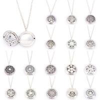 Silber Medaillon Halskette Aromatherapie Duft Essential Diffusor PendantBIN CL
