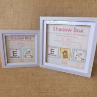 Grey & White Wooden Square 3D Deep Photo Frame Glass Memory Display Box