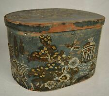 Wallpaper Wooden Bandbox Flowers Neoclassical 1830s Antique Large Box