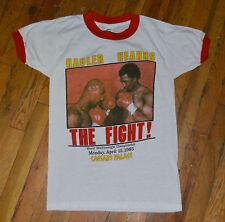 RaRe *1985 HAGLER vs HEARNS* vtg boxing fight t-shirt (S) 80's MINT Marvin Tommy