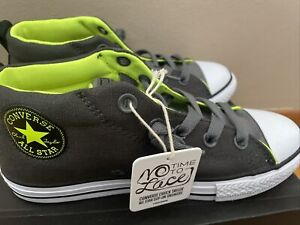 New Converse Chuck Taylor All Star Mid Grey Volt  Kid's Youth Sneakers Shoes 3
