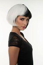 White & Black Diva Wig 101 Dalmatians Cruella De Vil Women Dr. Black Jack H0288