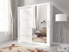 NEW MODERN BEDROOM SLIDING DOOR WARDROBE 5ft10inch (180cm) WHITE+MIRROR