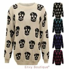 Hip Length Acrylic Skull Jumpers & Cardigans for Women