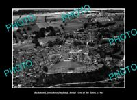 OLD POSTCARD SIZE PHOTO RICHMOND YORKSHIRE ENGLAND, AERIAL VIEW OF TOWN c1948
