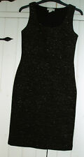 Monsoon black sleeveless bodycon dress gold metallic thread  size 8