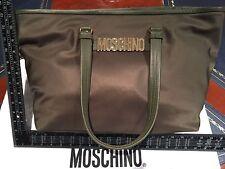 Moschino Shopper Shoulder Bag Mid Green Gold Hardware Leather + Nylon