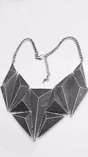 "Ladies Statement Chunky Silver Abstract Geometric Necklace 18"" -  20"""