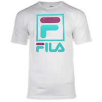 FILA Men's T-Shirt Stacked Logos Retro Sporty Style Crewneck Cotton White S L XL