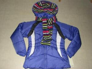 London Fog Girls Purple Hoodie Winter Jacket w/ Scarf S(7-8)/M(10-12) - NWT $85