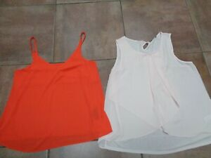 2 SUMMERY STRAPPY TOPS SZ 18 F&F & M&Co 1 PINK 1 ORANGE BOTH PERFECT       KL