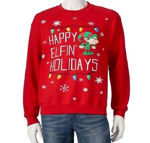 Christmas Xmas Happy Elfin Holidays Ugly Fleece Sweater Mens L Sweatshirt BNWT