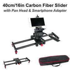 16in Carbon Fiber Camera Slider Track Tripod Mount w/ Bag & Pan Tilt Head