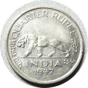 elf India British 1/4 Rupee 1947 (b)  George VI  Indian Tiger
