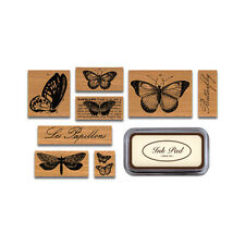 Cavallini - Tin of 8 Rubber Stamps - Butterflies - Black Ink Stamp Pad Included