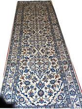 echter im Iran handgeknüpfter Perserteppich Keschan Läufer Galerie weiß NEU