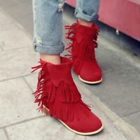 Women's High Block Clog Heels Round toe Tassels Suede leather Autumn Ankle Boots