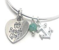 Heart Beach Girl Bangle Bracelet blue green Bead Charm Silver Plated Jewelry