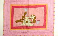 2 DYR Girlie MONKEY Sand Castle Pink Yellow Brown Whit Quilted Pillow Shams Case